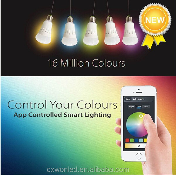 Remote control Home and Office, Bar smart E27 wifi bulb 7.5W RGB LED bulb light