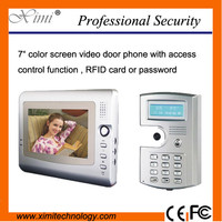 "7"" color screen video door phone for 6 families with access control card reader and password door opener video"