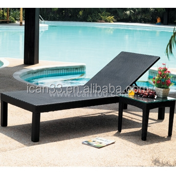 Simple resort outdoor sun bathing reclining bed furniture plastic rattan woven chair beach(SL-07013)