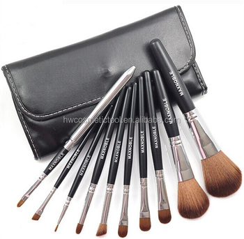 Newest selling beauty needs black PU leather 10pcs makeup brush set