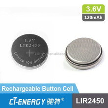 3.6v li-ion button cell battery lir2450 rechargeable for bluetooth headset