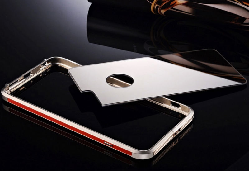 For iphone 6 luxury aluminum bumper case + Back mirror cover for iphone 6