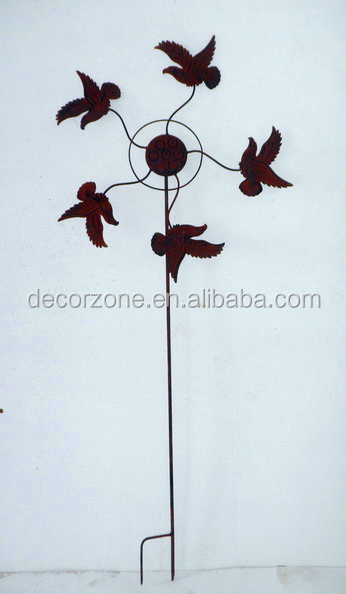 WINDMILL DECORATIVE IRON GARDEN STAKE WITH BIRDS