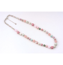 Fashion Ornament Women Classic Elegant White Natural Stone Double Handmade Beaded Necklace