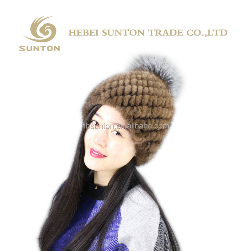 real mink fur knit hat with silver fox fur pom balls for winter