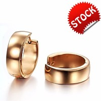 Fashion titanium steel rose gold plating Smooth surface Top quality men's hoop earrings wholesale