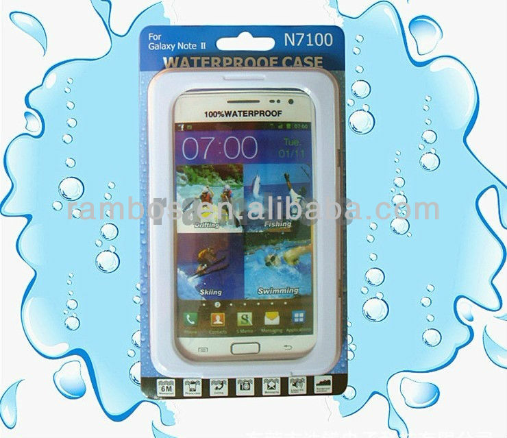 PC Silicon Waterproof Case Cell Phone Cover Water Proof Bag for Samsung Galaxy Note 2 N7100
