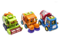 Push and Go Friction Powered Car Toys for Boys - Street Sweeper Truck, Cement Mixer Truck, Harvester Toy Truck