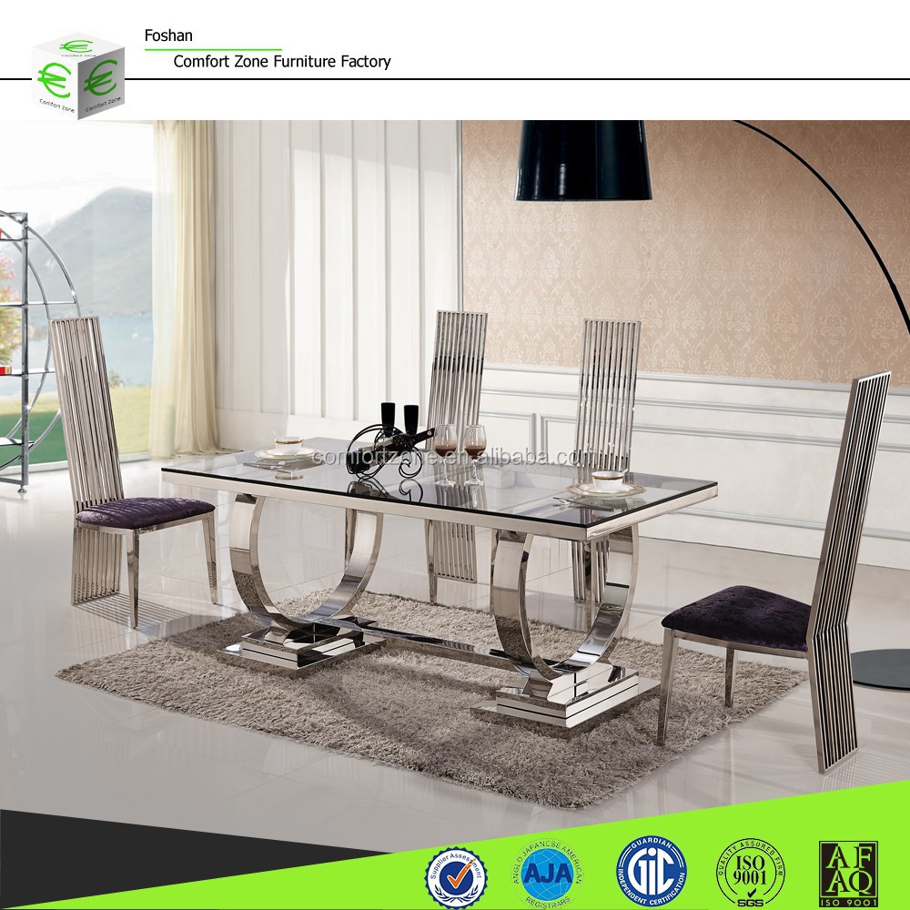 A8026 Cream colored retractable luxury dining room table and chairs