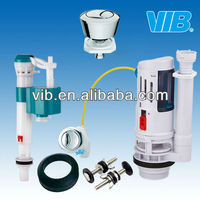 Cistern toilet set of plastic water tank fitting with push button flush valve and cistern fill valve
