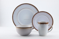 16pc stoneware reactive glaze embossed dinnerware sets, new 2016 design, tableware