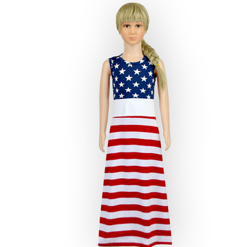 Hot 4th Of July Girls Maxi Dress Cotton Stars Patterns And White Red Striped Maxi Dress For Baby One Piece Girls Party Dresses