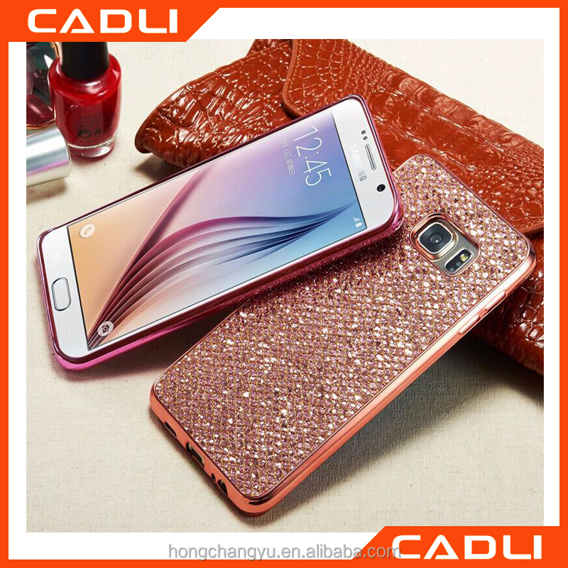 2016 Luxury Ultra Plating Glitter+Electroplating TPU OEM Phone Case For Samsung S7/S7 Edge back cover