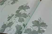 Home design leaf pattern non-woven wallpaper green / pink / yellow / white