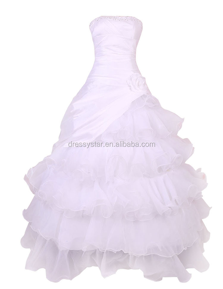 Western classic white strapless organza tiered wedding dresses with beads
