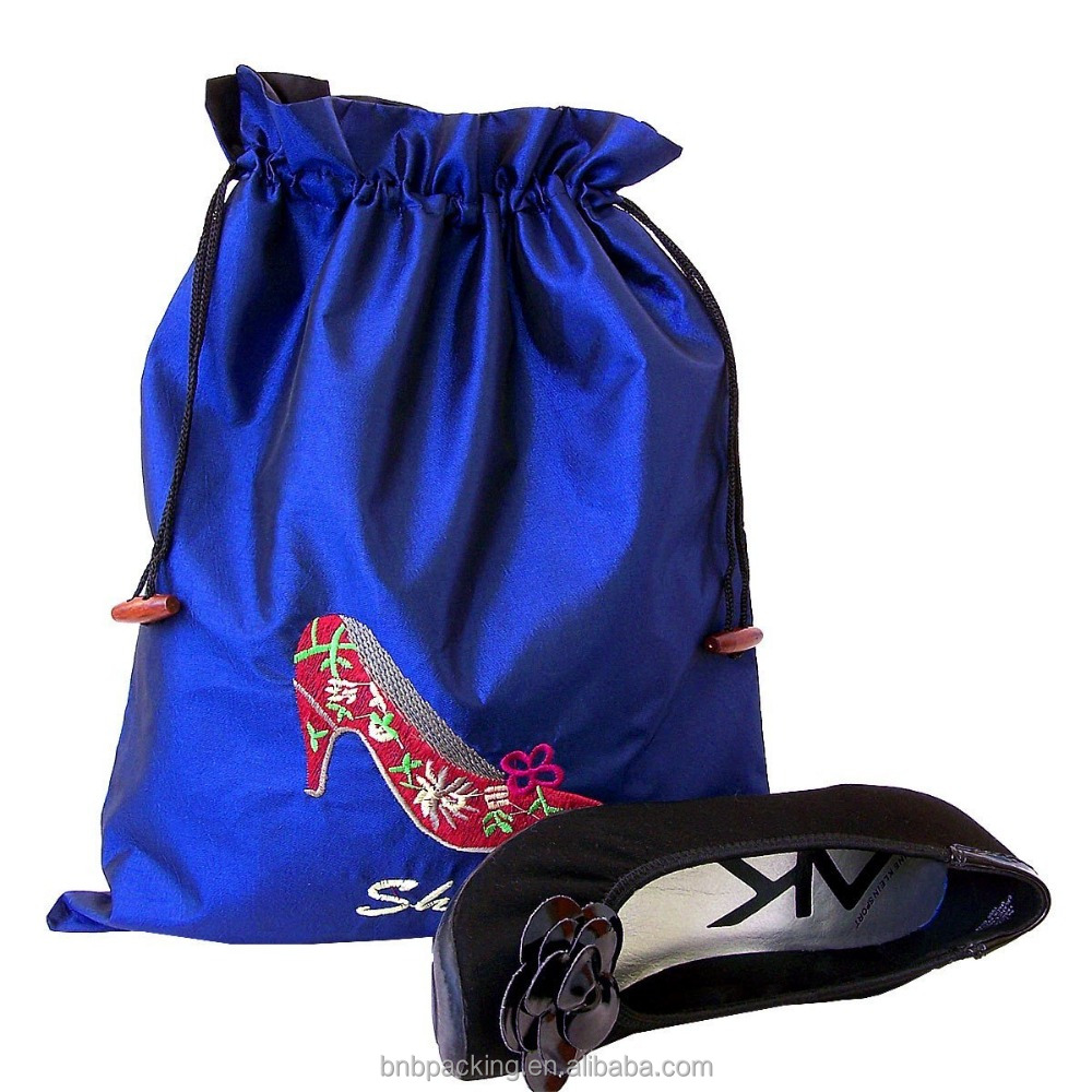 Wholesale Embroidered or Printed Travel Satin Shoe Pouch Drawstring Silk Satin Bag