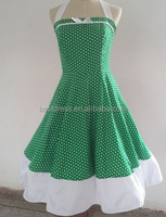 walson instyles wholesale green White Polka Dot Belted Rockabilly Retro Vintage Swing Dress