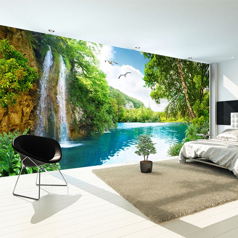 Custom 3D Wall Mural Wallpaper Home Decor Green Mountain Waterfall Nature Landscape 3D Photo Wall <strong>Paper</strong> For Living Room Bedroom