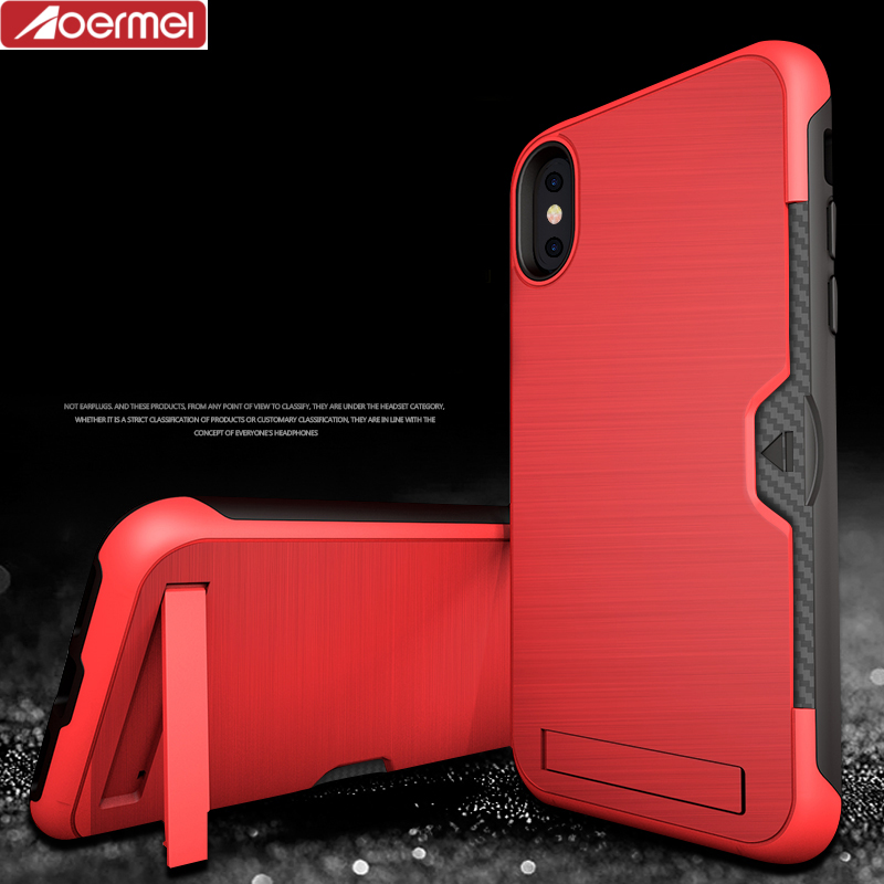 2017 hot selling hybrid TPU PC painting matte rubber wallet case with foldable kickstand for Iphone X