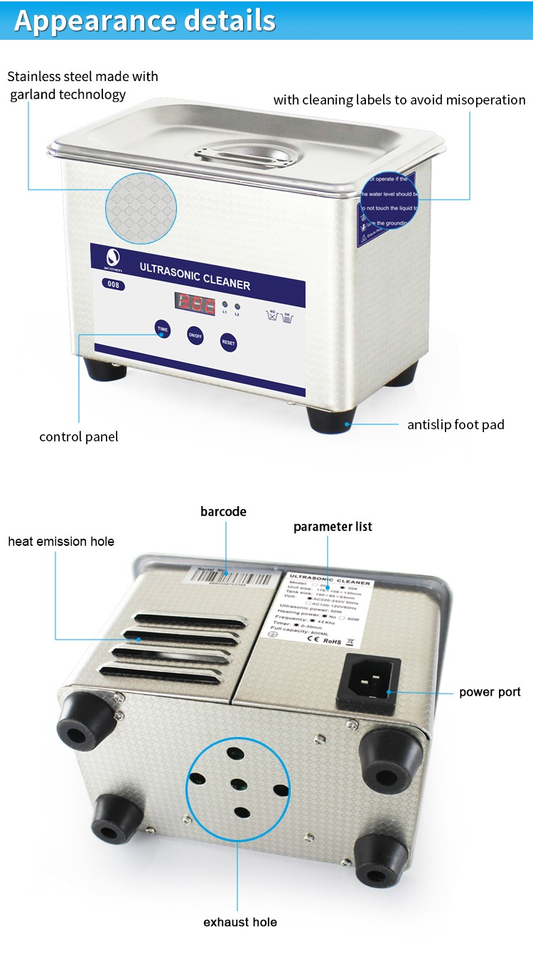 0.8L High frequency SUS304 denture instrument ultrasonic cleaning machine with timer