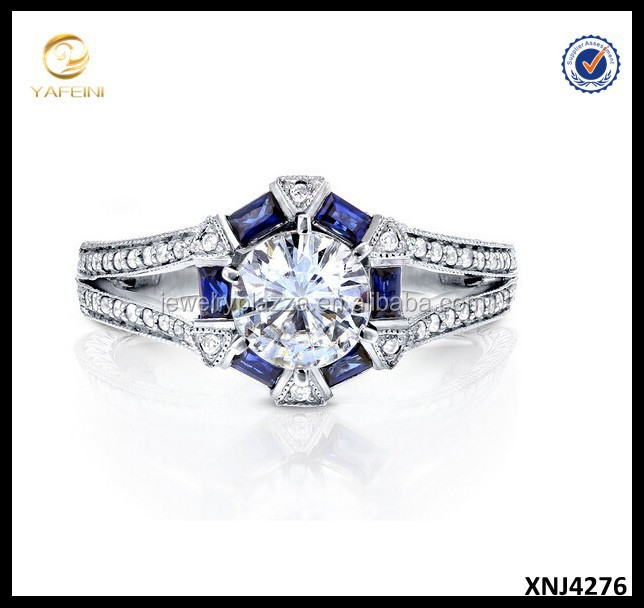 925 Sterling Silver Round-cut Moissanite Ring Blue Sapphire Diamond Art Deco Engagement Ring
