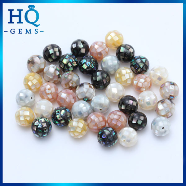 Mixcolor Mosaic MOP Gems Natural Multicolor Round Shell Mosaic Beads