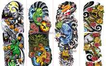 full arm tattoo stickers large flower shoulder fake tattoos sleeves for man body paint death skull rose Black Fire Death