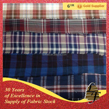 china supplier 100% cotton flannel check stock lot fabric for shirt