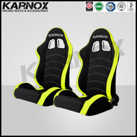 cloth universal racing seats,fixed reclining and tilting car seats black and yellow pair
