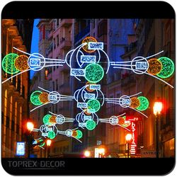 Shopping mall decor christmas light arches