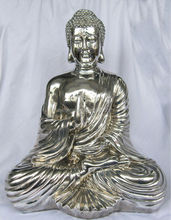 silver buddha statues,tin alloy figures,metal buddha sculpture