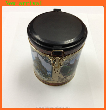 Round tin box with plastic cap