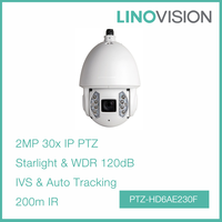 Full HD 2Mp Water and Vandal-Proof Auto -tracking and IVS 30x WDR 200m IR Network PTZ Dome Camera
