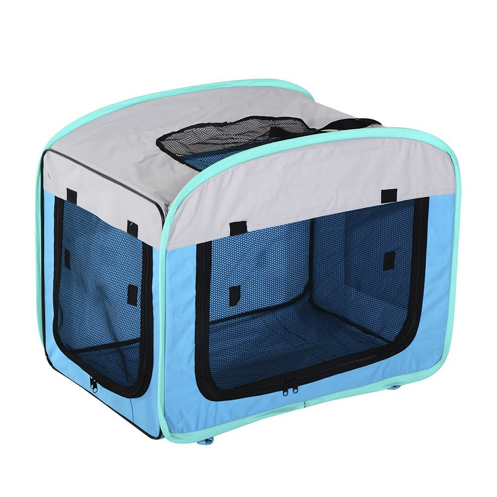 Personalized Soft Sided Pet Dog Travel Carrier Cages Expandable Foldable Folding Pet Crate Carrier soft side