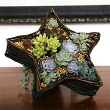 new design five-pointed star shaped wicker baskets with plastic liner