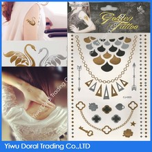Custom waterproof transfer tattoo flash gold metallic temporary tattoo