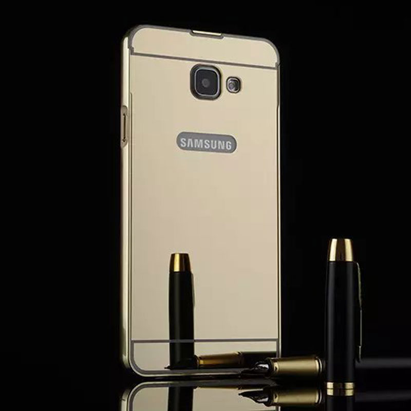 for samsung a5 a5100 mobile accessories electroplating aluminum PC mirror cover bling felt phone case