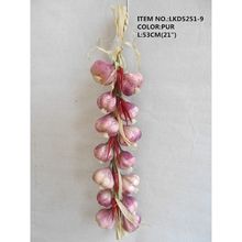 "21"" Decorative artificial vegetables purple fake garlic and chilli string"