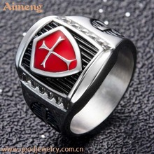 latest gold ring designs dripping oil cross men ring of the knights templar red and black AG shape stainless steel ring
