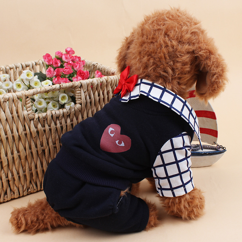 Fashion Spring And Autumn Fake Two Pieces Gentleman Suit Simply Pet Dog Clothes