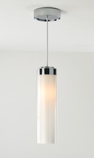 Modern Clear & Opal Glass Cylinder Pendant Light in Chrome