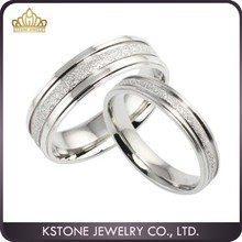 KSTONE Wholesale Fashion lovers silver sand rings stainless steel silver couple rings