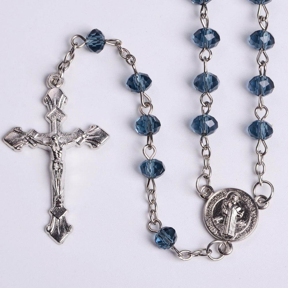 Popular Clear Crystal MultiFaceted Beads Crucifix Cross Praying Rosary Crystal <strong>Silver</strong> Factory Wholesale