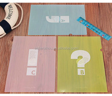 Cheap wholesale personalized custom printing A4 size one pocket promotion L shape clear folders