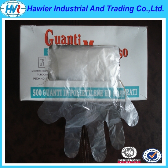 Hawier Factory supply disposable clear poly hand glove