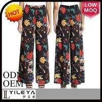 latest spring high end floral palazzo pants trouser women