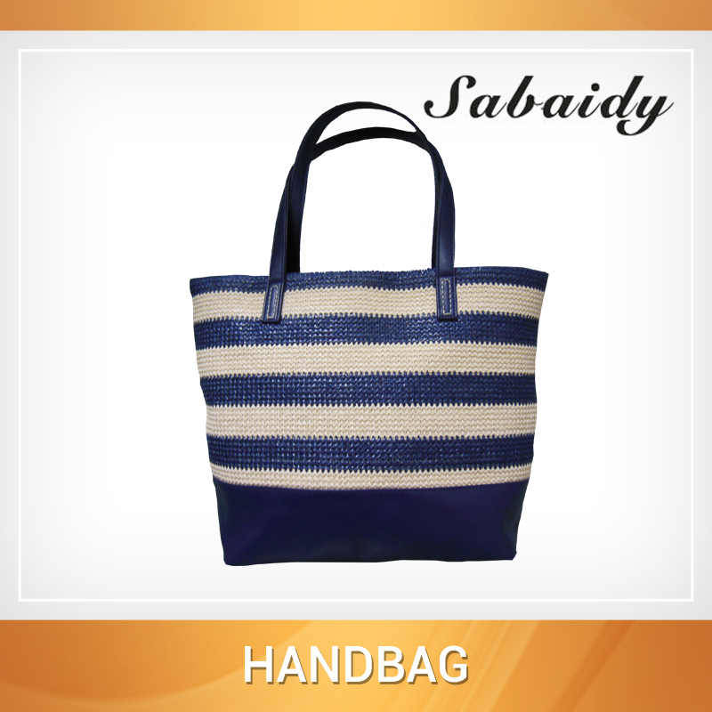 Wholesale stripe design straw fashion beach tote bag 2016 ladies handbag manufacturers china