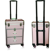 Aluminum trolley cosmetic case makeup storage box