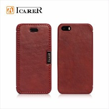 ICARER Customized Vintage Portable Genuine Leather Folio Case for iPhone 5/5S