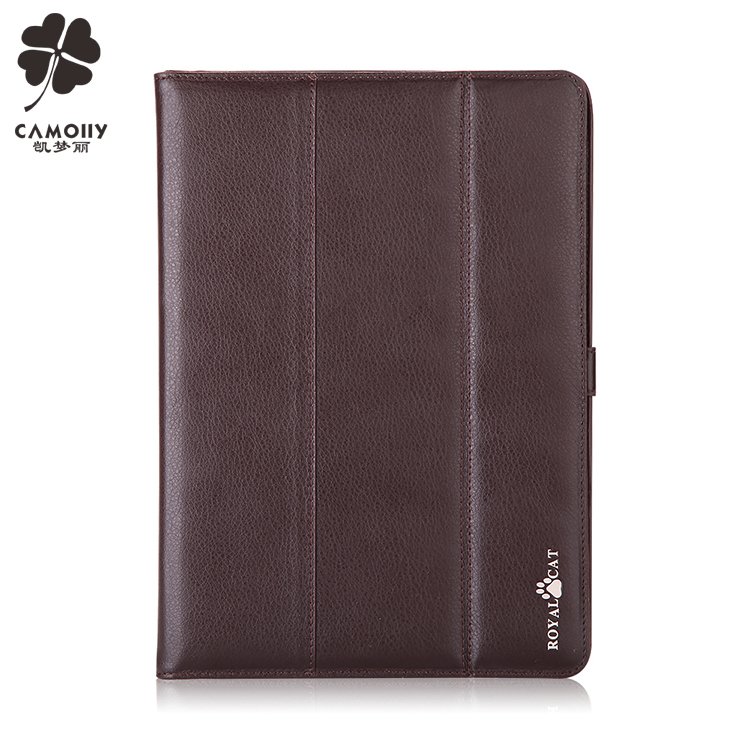 concise design dark brown leather tablet cover case for ipad air 1/2/3/pro with folded stand